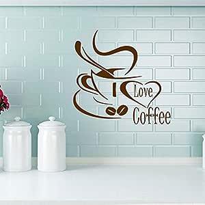 yiyiyaya Pegatinas de Pared de Vinilo de café 3D Art Decal Coffee ...