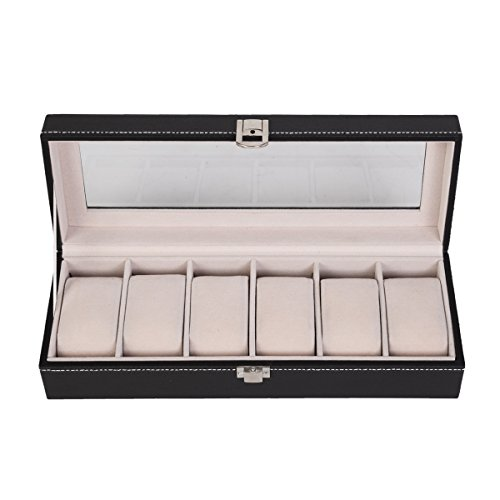 NEW 6 Slot Leather Watch Box Display Case Organizer Glass Top Jewelry Storage