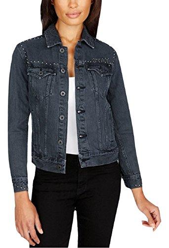 (Lucky Brand Womens Studded Destroyed Denim Jacket Black M )