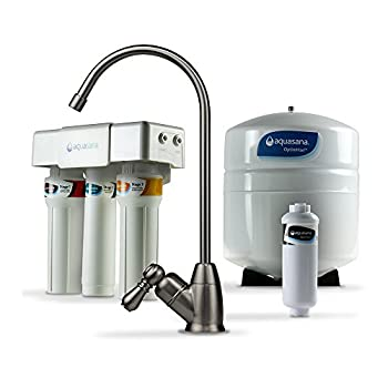 Image of Aquasana OptimH2O Reverse Osmosis Under Sink Water Filter System - Filters 95% Of Fluoride - Kitchen Counter Faucet Filtration - Brushed Nickel - AQ-RO-3.55 Home and Kitchen