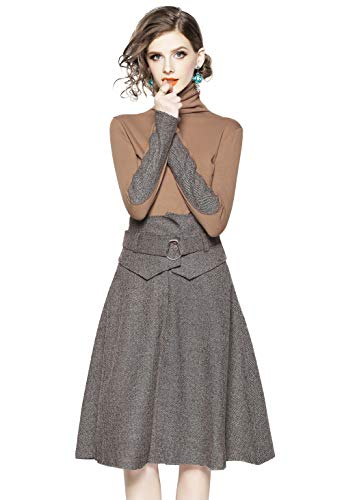Midi High Dress FIVE Khaki Retro Neck MENG Chic Career CATS Piece Tunic LAI Two Skirt Women's Pockets O5HqnY