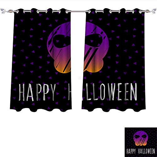 DragonBui Decor Curtains by Happy Halloween Card Template Abstract Halloween Pattern for Design Card Party Invitation Poster ALB Adjustable Tie Up Shade Rod Pocket Curtain W55 x L39/Pair