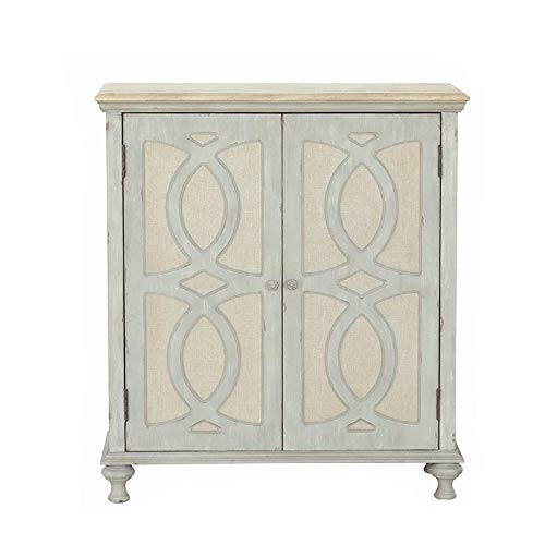 PRI Home Fare Wood and Fabric Two Door Accent Chest in Weathered Grey by PRI