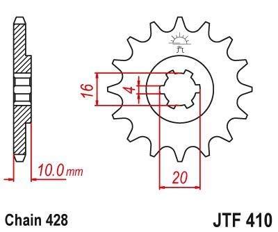 Hyosung GV125 C Aquila Classique 11 12 13 14 15 Pignon avant 13 Dents 428 Points JTF410.13