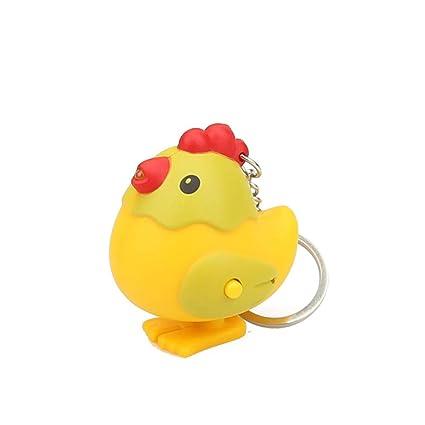 Sonmer - Llavero de gallina con luz LED y función de sonido ...
