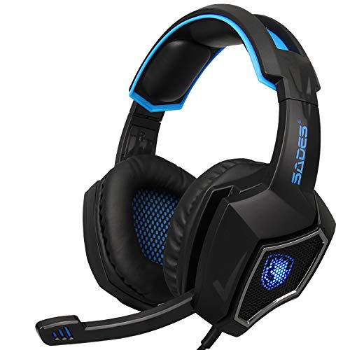 2016 Latest Sades SPIRITWOLF USB Version 7.1 Surround Sound Stereo Gaming Headset Headphones with Microphone, Over Ear, Noise Reduction, Volume Control, LED Light for PC Computer Gamers(Black Blue)