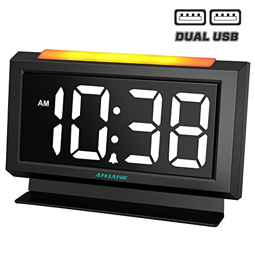 ANJANK Digital Alarm Clock for Bedrooms, Easy Night Light,Large Numbers with LED Display Dimmer,Dual USB Charger Ports,AC Powered Compact Clock for Desk,Bedside,Nightstand(Black) (Night Alarm Display Clock Digital)