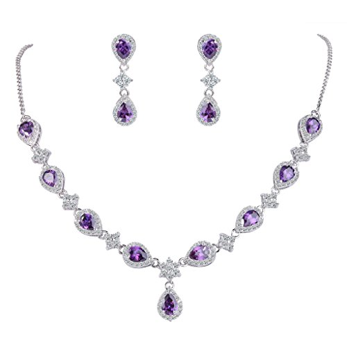 EleQueen Women's Silver-Tone Cubic Zirconia Teardrop Flower Bridal V-Necklace Set Dangle Earrings Amethyst Color
