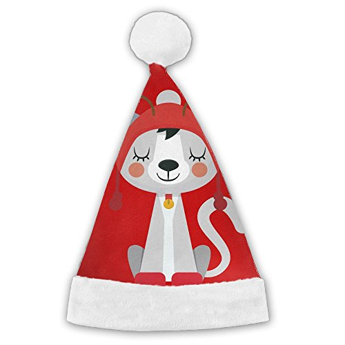 In Costume The Australia Hat Cat (Bdna Velvet Santa Claus Hat Christmas Cat Deer Merry Christmas Hats Adults Children Costume XMas Decor Party Supplies)