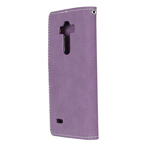 YHUISEN LG G4 Caso, estilo retro de color sólido Premium PU cuero Wallet caso Flip Folio cubierta protectora de la caja con ranura para tarjeta / soporte para LG G4 ( Color : Rose ) Purple