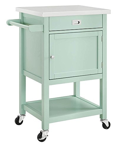 Sydney Kitchen Island Cart - Light Green with Stainless Steel Top