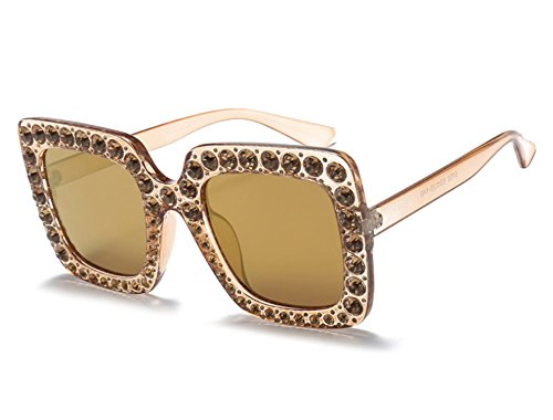 (Dormery Fashion Women Square Sunglasses Brand Designer Luxury rhinestone Sun Glasses Shades Oculos MA282 C6 )