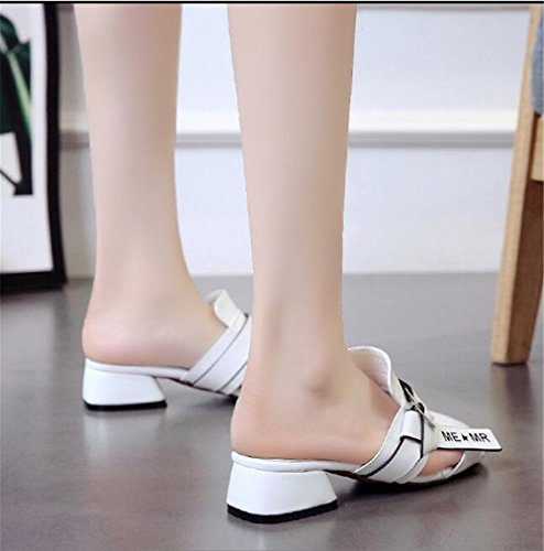 White Toe Women Out Sandals Pointed Slippers Mules Flat Heel Female Casual Summer Hollow pit4tk Slides wqY6PTxZw