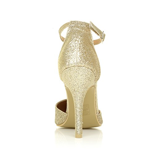 New York Champagne Gold Glitter Ankle Strap Pointed High Heel Court Shoes Yv9n1rAH