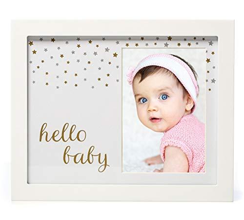 1Dino Hello Baby Keepsake Picture Frame - Delux 8x10 White Solid Wood Frame, Gold & Silver Special Paint - Perfect Shower Gift for Boys and Girls, A Forever Registry Memory, Wall/Desk Nursery Decor from 1dino
