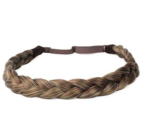 DIGUAN Synthetic Hair Braided Headband Classic Chunky Wide Plaited Braids Elastic Stretch Hairpiece Women Girl Beauty accessory, 55g aHairBeauty (#Caramel Blonde) ()