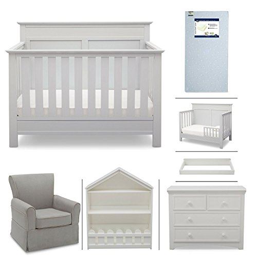 Crib Furniture - 7 Piece Nursery Set with Crib Mattress, Convertible Crib, Dresser, Bookcase, Glider Chair, Changing Top, Toddler Rail, Serta Fall River - White/Dove Gray