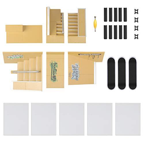 TIME4DEALS Finger Skateboard Park 8pcs Skate Park Kit Ramp Parts, Mini Fingerboard Rails Starter Kit with 3 fingerboards & 5 Silicone Mat Set by TIME4DEALS (Image #7)