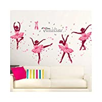 Alrens 74 x 38 Inch DIY Decor Lovely Ballet Girl Art Wall Stickers for Kids Rooms Home Decor Wall Decals Flower Bedroom Decor Butterfly Decoration Stickers Mural
