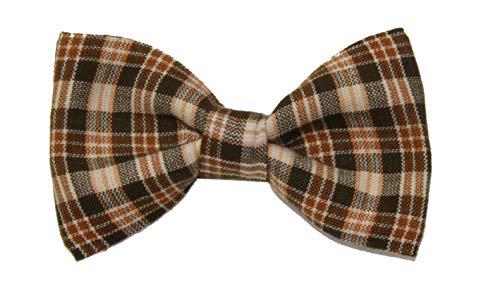 Boys Children's Brown/Tan Plaid Clip On Cotton Bow Tie