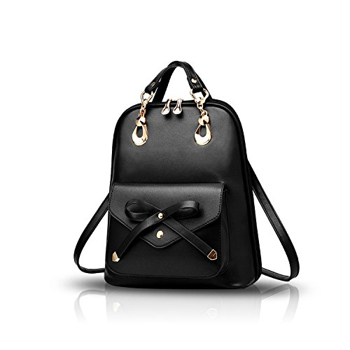Daypack Women Travel Girls Beige Nicole School Leather Bag Bowknot Bowknot Travel Fashion amp;Doris Backpack College Outdoor Shoulder PU Black 1xn5nPqz8
