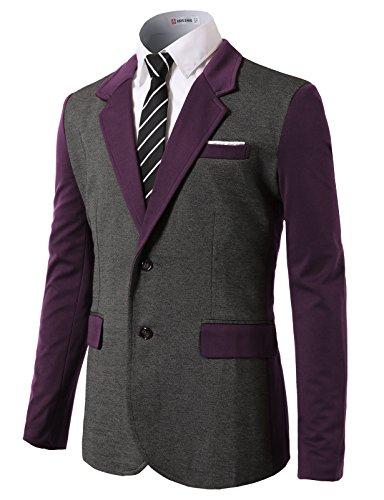 H2H+Mens+Classic+Slim+Fit+Blazer+with+Color+block+Style+Notch+Lapel+PURPLE+US+S%2FAsia+M+%28CMOBL015%29
