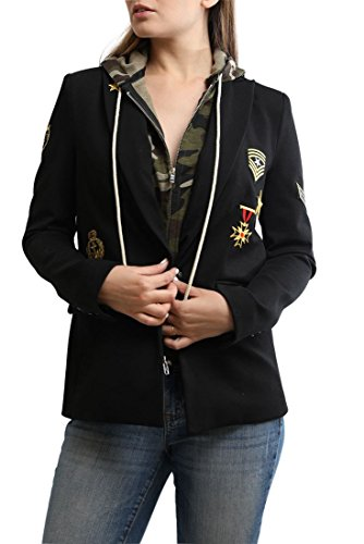 - Central Park West - Flint Military Jacket with Hoodie - Black - M