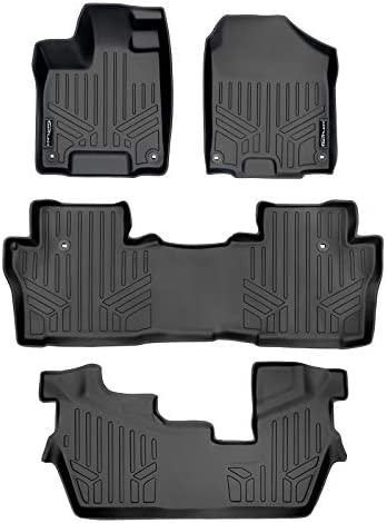 SMARTLINER Custom Fit Floor Mats 3 Row Liner Set Black for 2016-2021 Honda Pilot (No Elite Models)