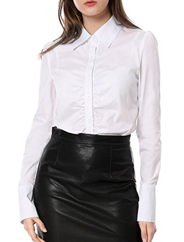 Allegra K Lady Chic Point Collar Long-sleeved Button Down Ruched Shirt medium white