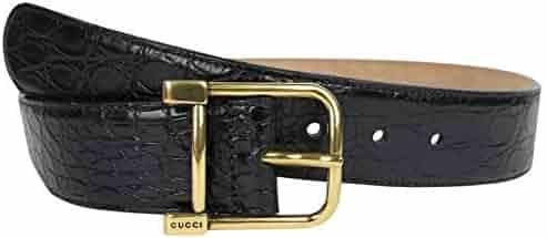 181ce5dcfac Gucci Women s Gold Square Buckle Black Crocodile Belt 257319 E7I0T 1000