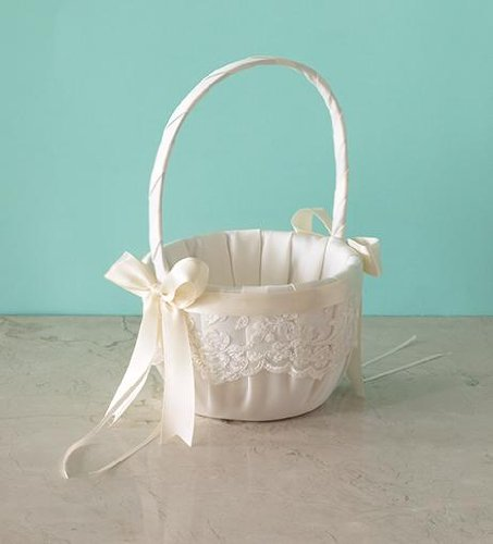 Beverly Clark Ivory Lace Flower Girl Basket with Satin Black Ribbon 223VI ()