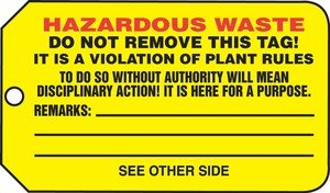 - Accuform THS325CTP Safety Tags Specific Hazard HAZARDOUS WASTE PF-Cardstock 25 PK