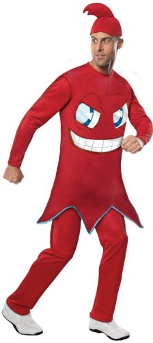 Pac Man Characters Costumes (Rubie's Costume Pac-man Adult Blinky Jumpsuit With Foam Tummy, Red, Standard Costume)
