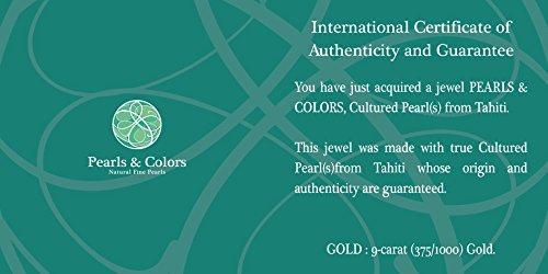 Pearls & Colors - Créoles - Or blanc 9 cts - Perle de culture de Tahiti - AM-9BOT 129 SB8B