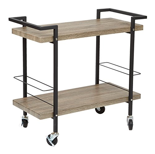 Office Star Maxwell Black Powder Coated Steel Frame Serving Cart with 2 Ash Finish Wood -