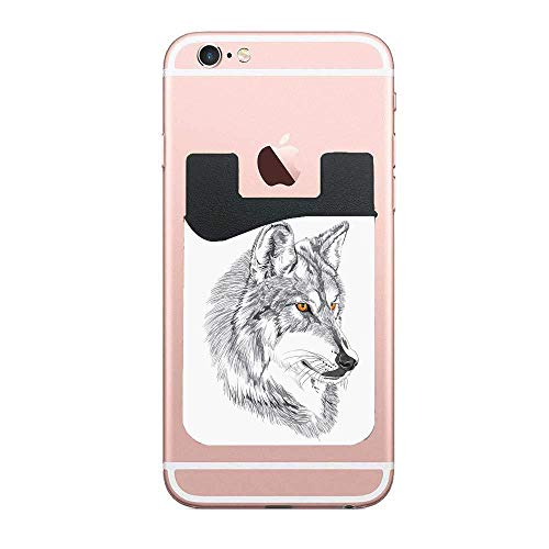 CardlyPhCardH Handmade Sketch Portrait of Siberian Wolf Wild Animal Werewolf Legend Husky Artwork Phone Pocket,Cell Phone Stick On Card Wallet,Credit Cards/ID and All Smartphones 2 PCS ()
