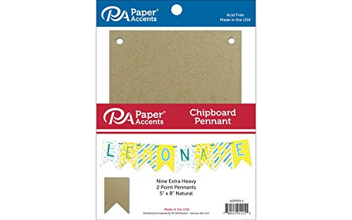 Accent Design Paper Accents ADPPEN.5 2 Point 5x8 Natural Chipboard Chip Pennant