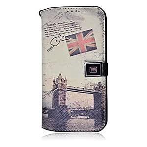 WEV Vintage London Bridge Cross Pattern with Stand and Card Slot for Samsung Galaxy S4 I9500