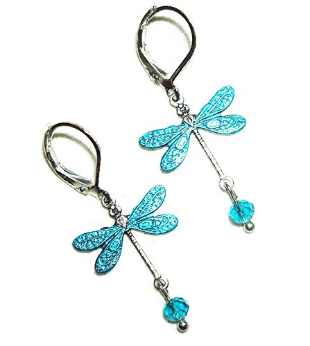 Enameled Dragonfly Earrings (TEAL BLUE DRAGONFLY EARRINGS Silver Plated Dangle Drops Leverbacks)