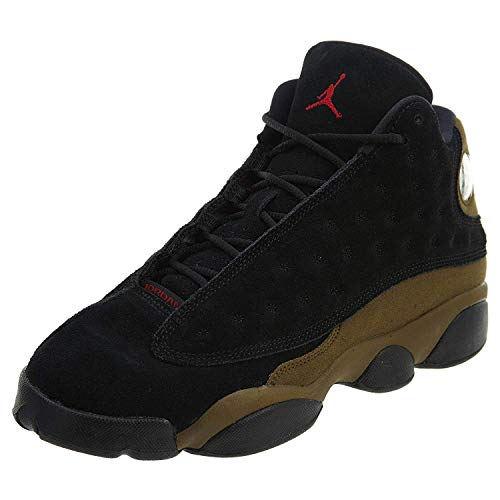 Jordan Nike Kids Air 13 Retro BG Black/True Red/Light Olive Basketball Shoe 6.5 Kids US