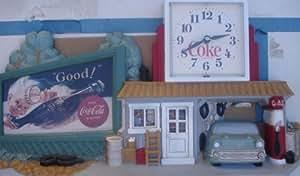 Coca Cola Rt, 66 reloj de pared escena de garaje
