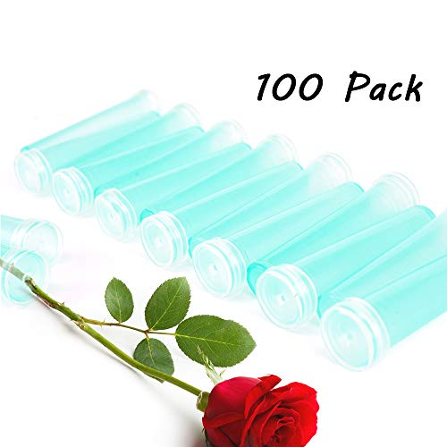 Wang-Data 100pcs Fresh Flower Rhizome Tube Aquatic Rose Carnation Water Container Wedding-0.8 x 2.8 inch (Diameter x Height) ()