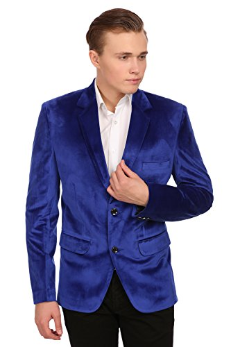 Wintage Men's Velvet Two Buttoned Notch Lapel Party Blue Coat Blazer,Medium / (Blue Velvet Blazer)