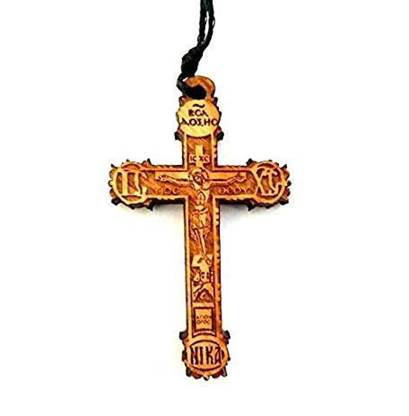 Christian Orthodox Greek Religious Pendant Necklace with Wood Cross / 35 -