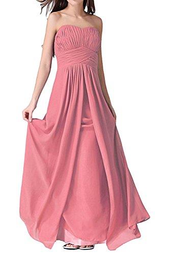 Partykleid Wassermelone Ivydressing Falte Schnuerung Brautfernkleid lang Herzform aermellos Rueckenfrei Abendkleid Chiffon Damen Sweetheart PqP7Ug