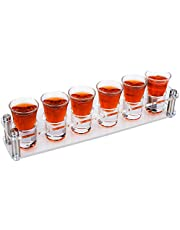 D&Z Acrylic Long Shot Glass Tray Set [ 0.85 oz. Each Glass ]