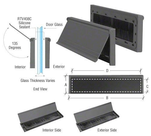 CRL Black Anodized No-Draft 3'' x 11-1/2'' Mail Slot