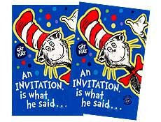 Dr. Seuss CAT in the HAT Package 8 Party Invitations (Seuss Invitations)