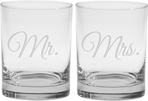 Culver 2-Piece Etched Mr. and Mrs. Double Old Fashioned Glasses Set, (Mr And Mrs Glasses)