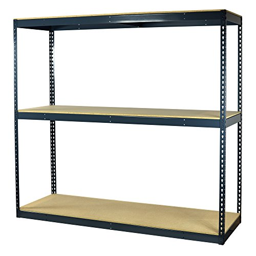 - Storage Pro Garage Shelving Boltless, 3 Shelves, Particle Board Decking, Heavy Duty, 900 Lbs Cap/Shelf, 96 x 18 x 72